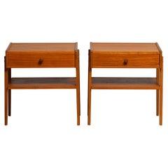 1950 Teak Nightstands Bedside Tables by Carlström & Co Mobelfabrik Sweden, 1