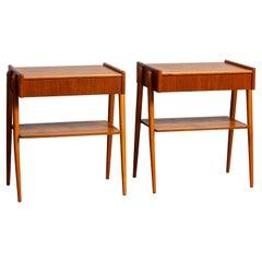 1950 Pair Teak Nightstands Bedside Tables by Carlström & Co Mobelfabrik Sweden