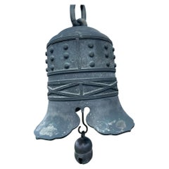 Japanese Big Bronze Temple Hearts Bell with Chime, 19th Century