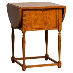 Early 20th Century Swedish Birch and Mahogany Drop-Leaf Pembroke Drawer Table