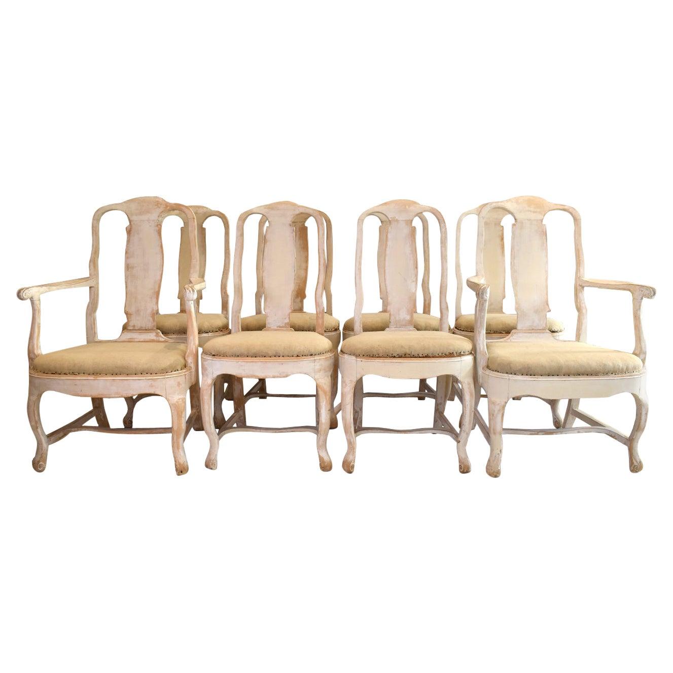 19th Century Swedish Rococo Chairs - Set of 8