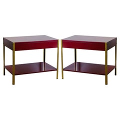 Pair of 'Laque' Oxblood Lacquer and Brass Nightstands by Design Frères