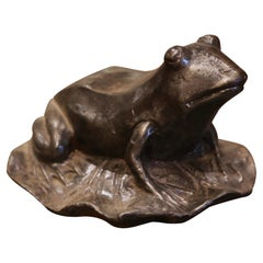 Early 20th Century French Polished Iron Frog Sculpture