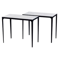 Pair of 'Esquisse' Iron and Honed Marble Side Tables by Design Frères
