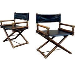 1970s McGuire Director Chairs in Oak and Black Vinyl, a Pair