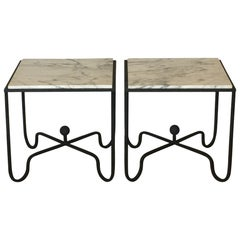 Pair of Wrought Iron and Marble 'Entretoise' Side Tables by Design Frères