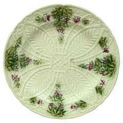 French Majolica Plate Grapes Salins, circa 1890