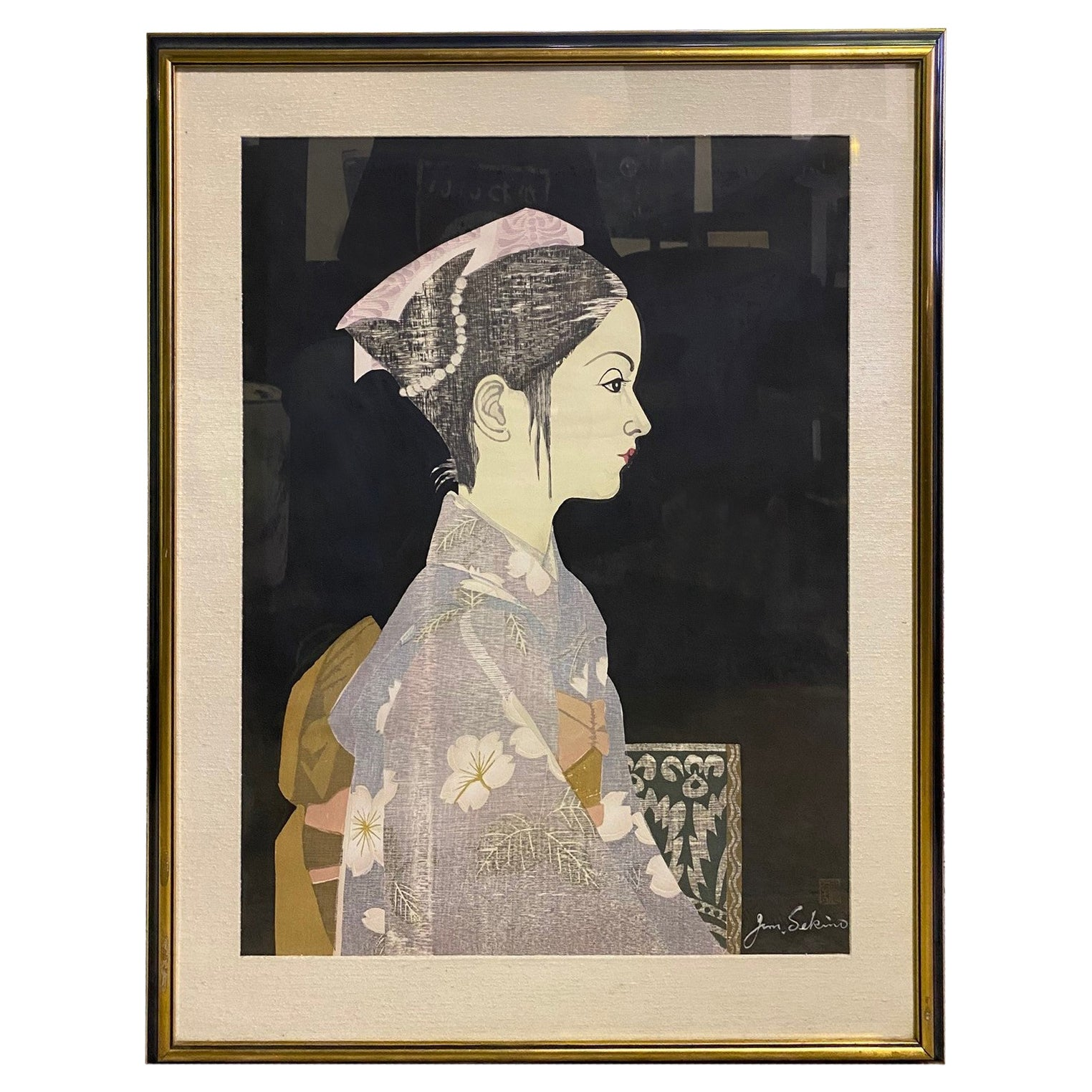 Junichiro Sekino Signed Limited Edition Japanese Woodblock Print Girl in Kimono