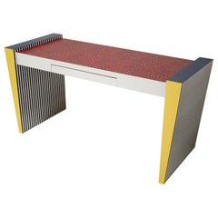 "Ettore Sottsass Memphis Desk in ""Spugnatto"" Red Laminate from Grace Designs 1985"