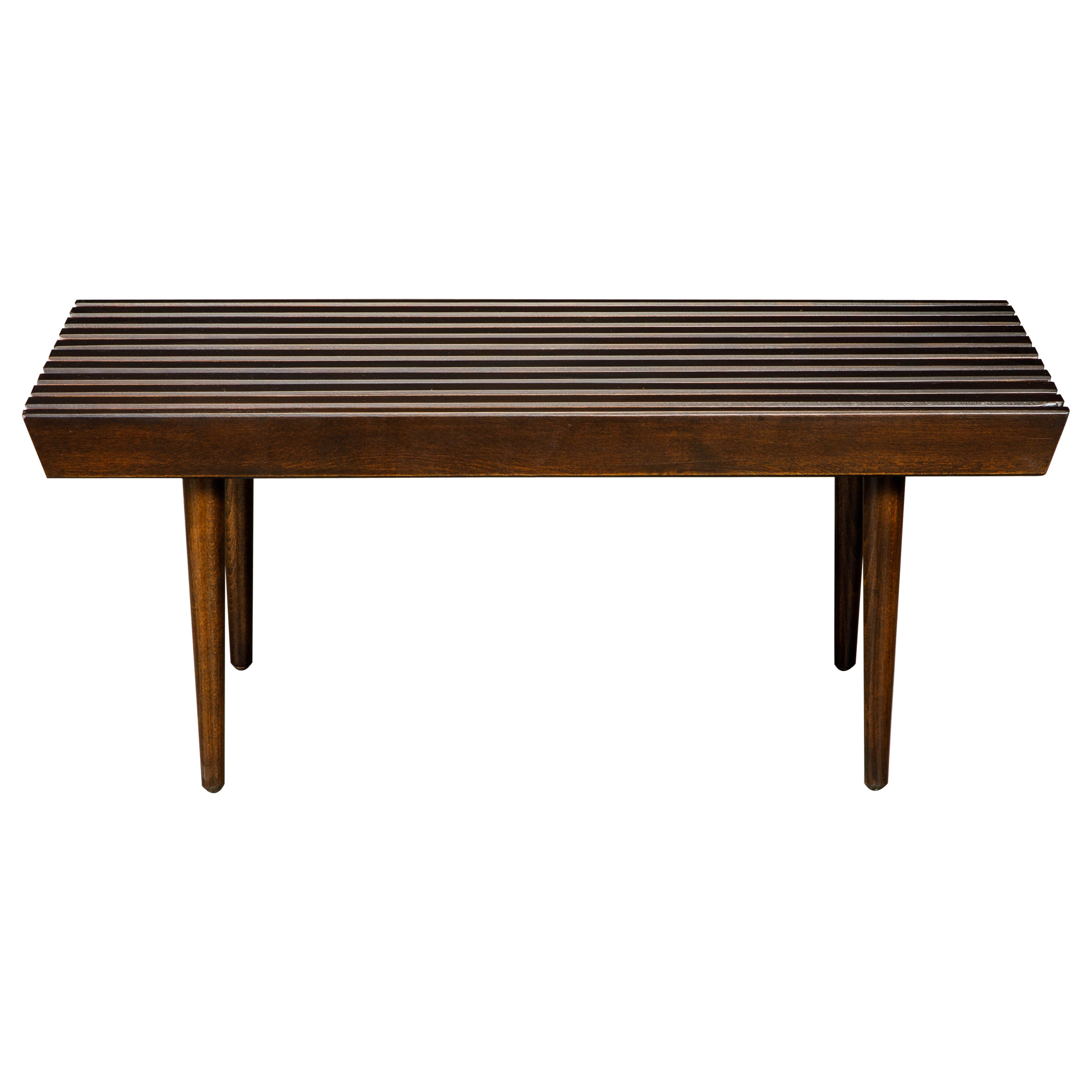 Refinished George Nelson Style Slatted Wood Bench or Table, circa 1960