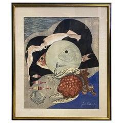 Junichiro Sekino Signed Japanese Limited Edition Woodblock Print Aquarium