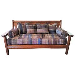 1930's Rustic Rittenhouse Pine Sofa with Rag Rug Upholstery Cushions