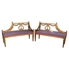 Hollywood Regency Lyre Back Carved Benches, a Pair