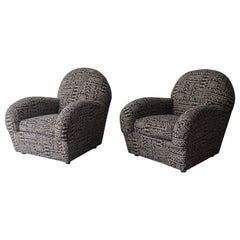 Oversized Pair of Postmodern Lounge Chairs