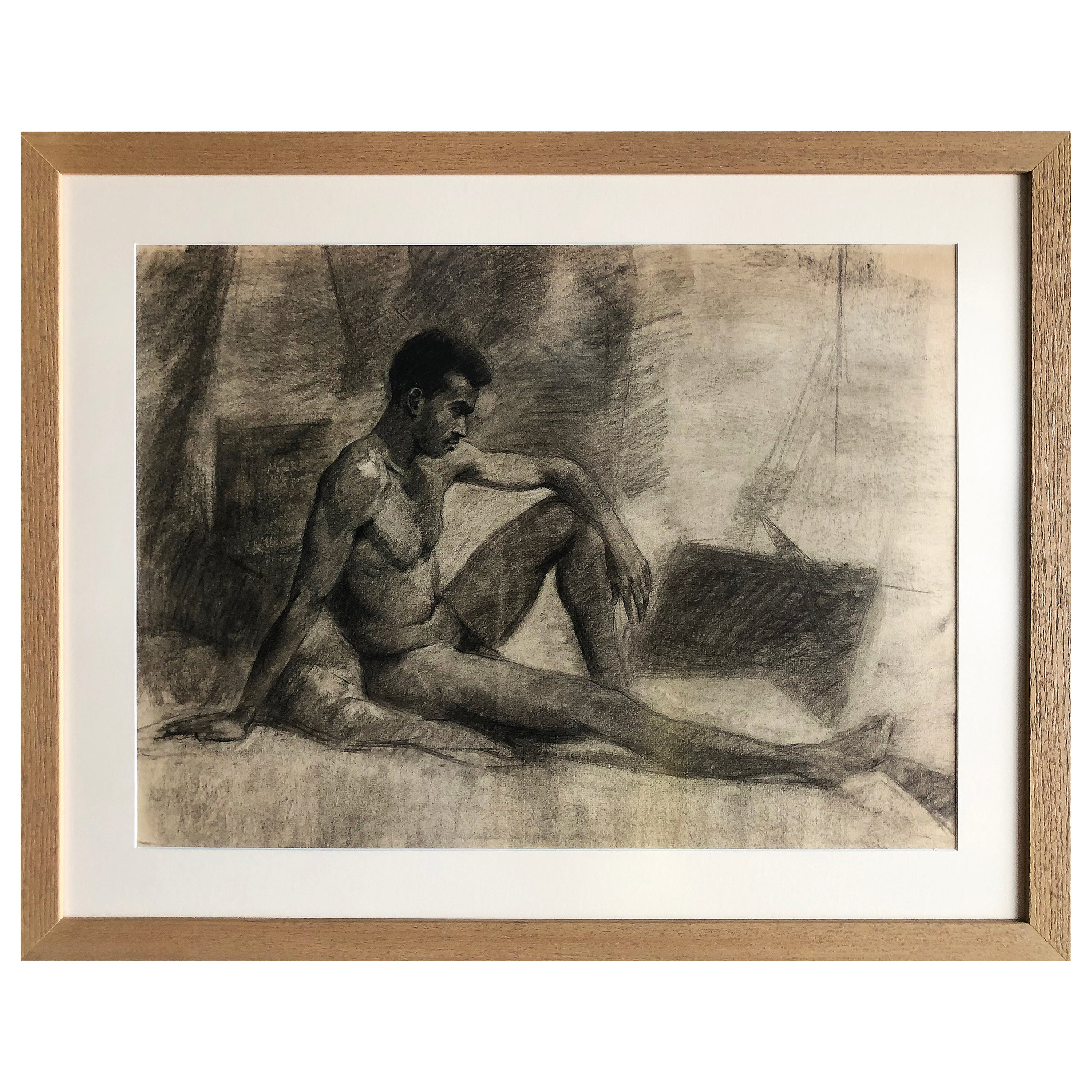 1940s Male Nude Art Study Drawing in Charcoal on Paper