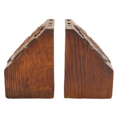 Pair of Carved Oak Bookends
