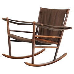 Joaquim Tenreiro Iconic Rocking Chair in Solid Rosewood