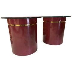Hollywood Regency Drum Side Tables, a Pair