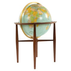 Mid-Century Lighted Globe with Stand