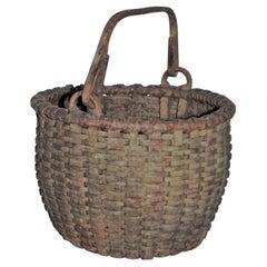 19Thc Original Sage Green Painted Swing Handled Basket
