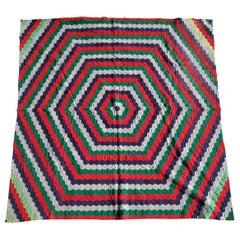 19thc Octagon Wool Quilt Trip Around the World