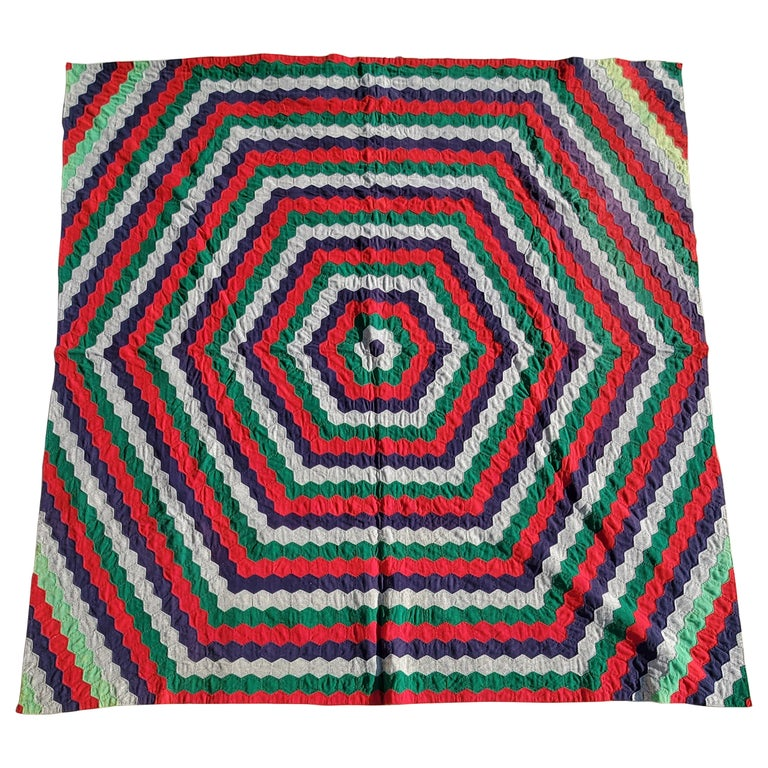 19thc Octagon Wool Quilt Trip Around the World For Sale
