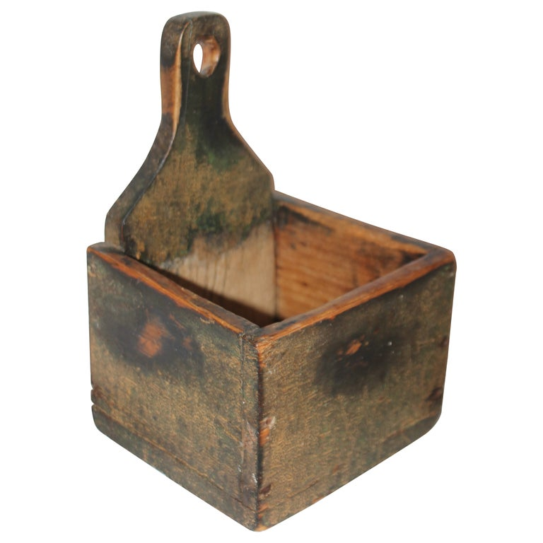 19thc Original Painted Salt Box from Vermont For Sale