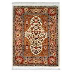 Vintage Silk Turkish Hereke Rug