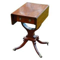 American Federal Period Mahogany Dropleaf Worktable with Downswept Legs Paw Feet
