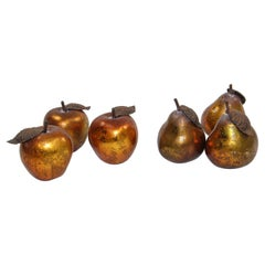 Vintage Decorative Pears and Apples Gilted Metal Set of Six