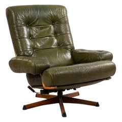 Mid-Century Green Tufted Leather Armchair