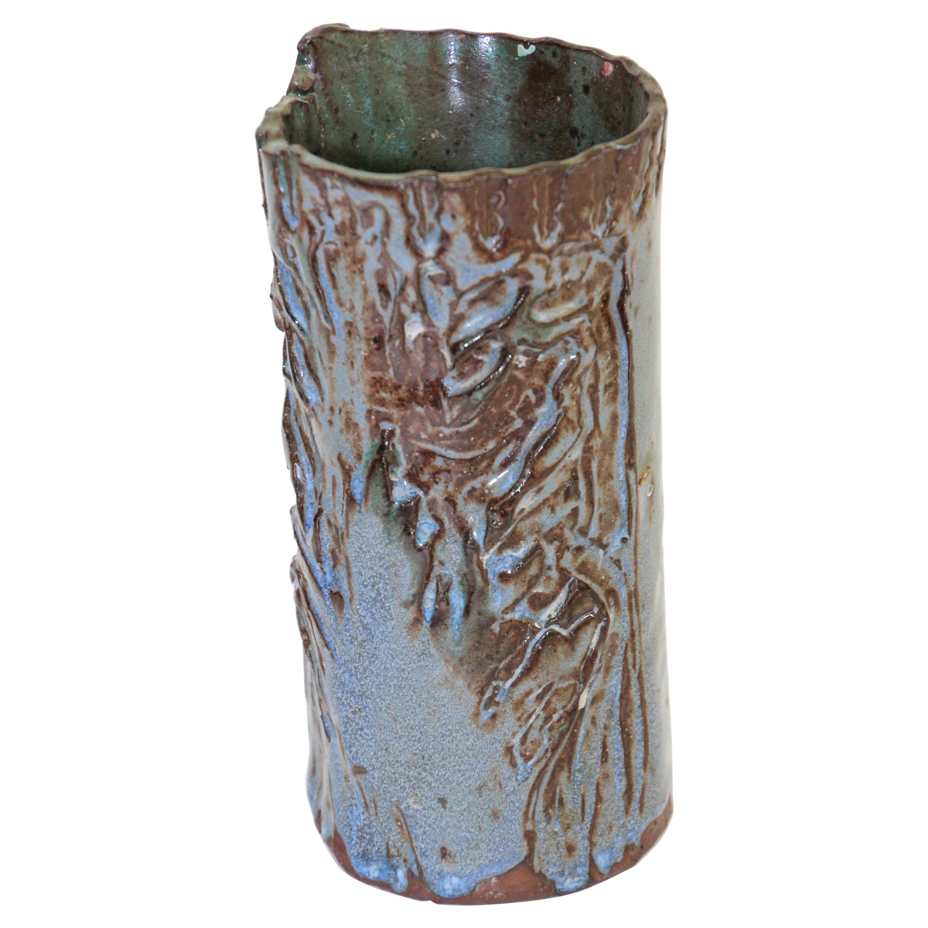 California Studio Organic Pottery Vessel Brush Pot Vase
