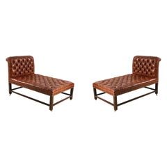 Pair of Mid-Century Brown Tufted Leather Psychiatrist Couches