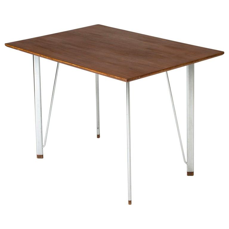 Steel and Teak Desk by Arne Jacobsen for Fritz Hansen. Denmark, 1960s For Sale