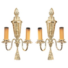 Pair of English Georgian Silver Plate Wall Sconces
