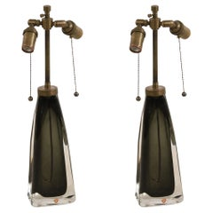 Pair of Orrefors Mid-Century Tapered Gray Glass and Brass Table Lamps