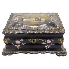 English Victorian Papier Mache Box