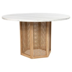9 Wicker and White Marble Round Center Tables