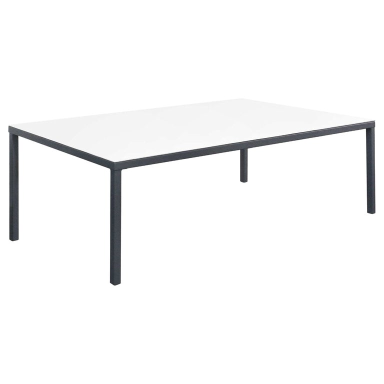 Outdoor Rectangular Dining Table in White Lacquered Resin For Sale