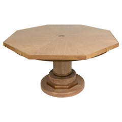 Mid-Century Cerused Oak Octagonal Center Table
