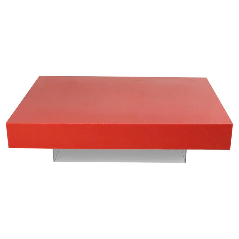 Contemporary Modernist Red Lacquer and Lucite Low Coffee Table For Sale
