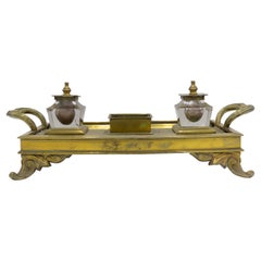 English Victorian Bronze Double Inkwell