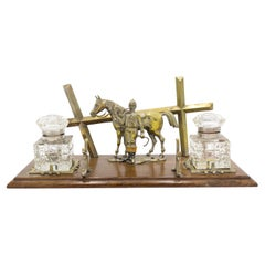 English Victorian Bronze Double Inkwell with Horse