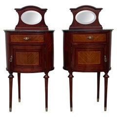 19th Louis XVI Style Pair of Marquetry Nightstands with Bronze & Mirror Crest