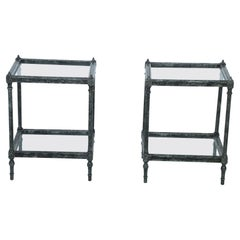 Pair of Contemporary Wooden Faux Metallic Painted End Tables with Glass Tops