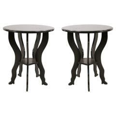 Pair of Contemporary Black Painted Large Circular End Tables