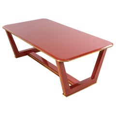 Custom French 1940s Style Red Lacquered Coffee Table