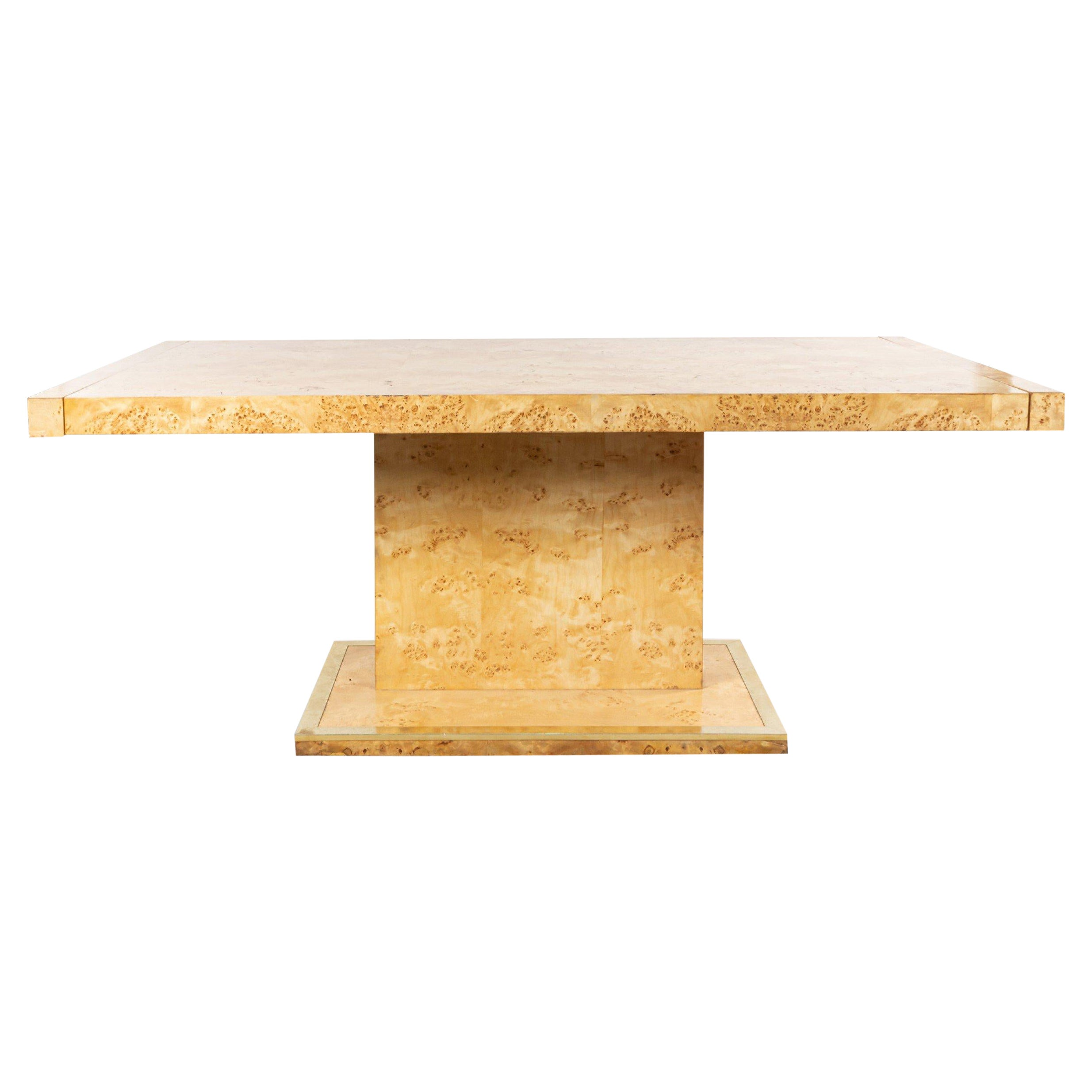 Mid-Century Modern Burl Wood Dining Table with Leaves
