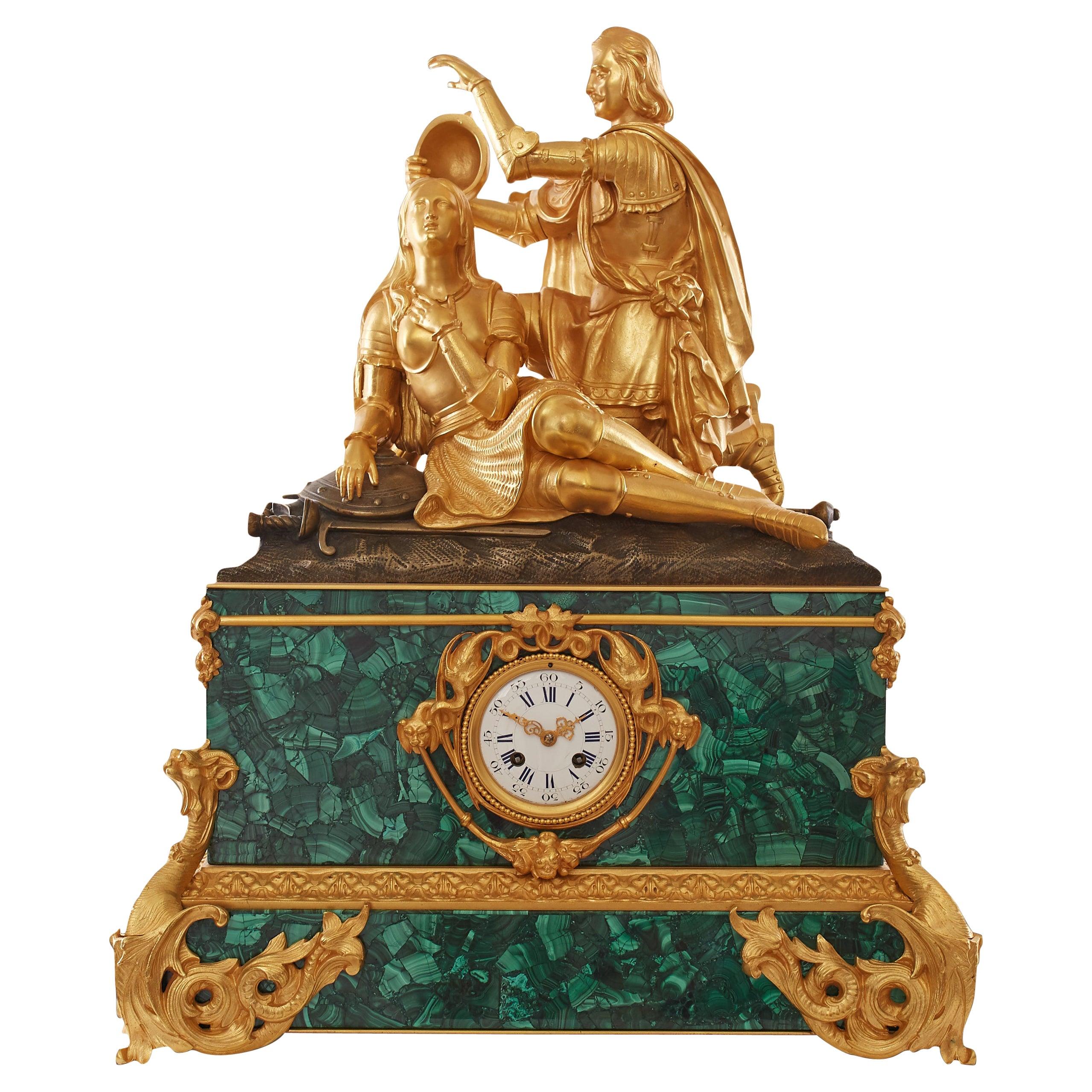 Charles X Period Ormolu and Malachite Mantel Clock