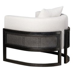 Contemporary Armchair in Black Oakwood and Boucle Fabric